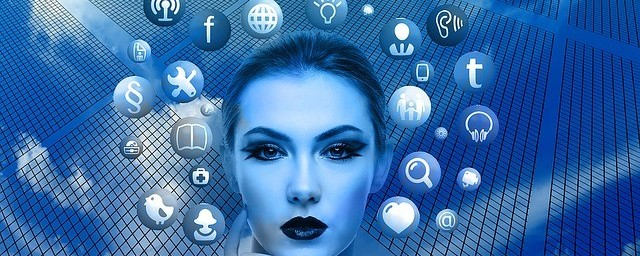 Woman on blue background with internet logos