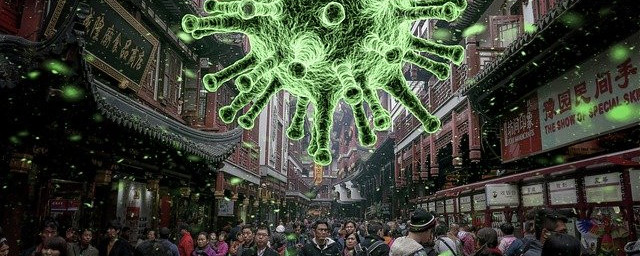Large image of coronavirus above a crowd of people
